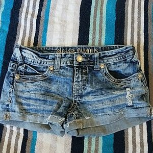 Almost Famous thick stitch distressed jean shorts